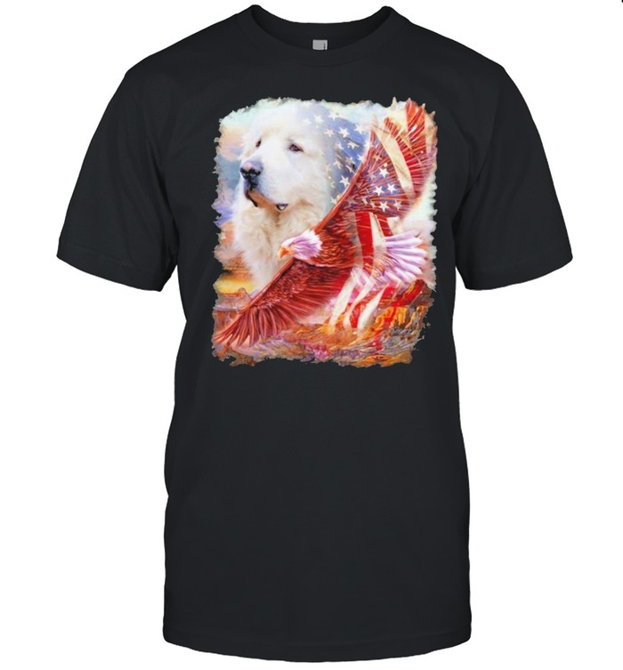 Eagle Great Pyrenees American Wings Happy 4th Of July  Classic Men's T-shirt