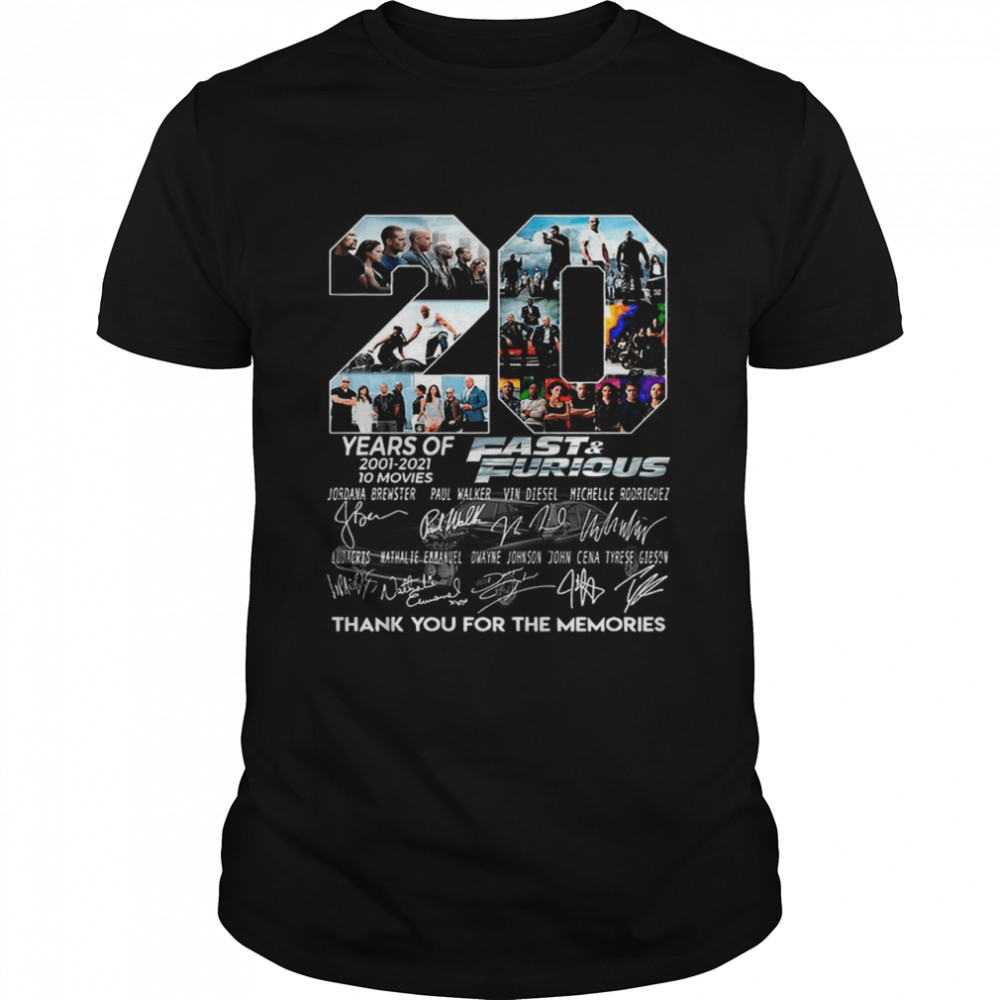 Thank You For The Memories 20 Years Of Fast & Furious With 10 Movies Signatures shirt Classic Men's T-shirt