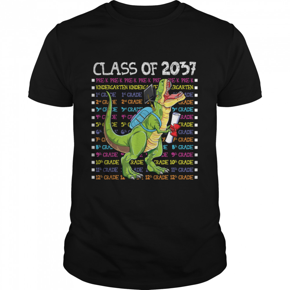 Class of 2037 Graduation Grow With Me TRex  Classic Men's T-shirt