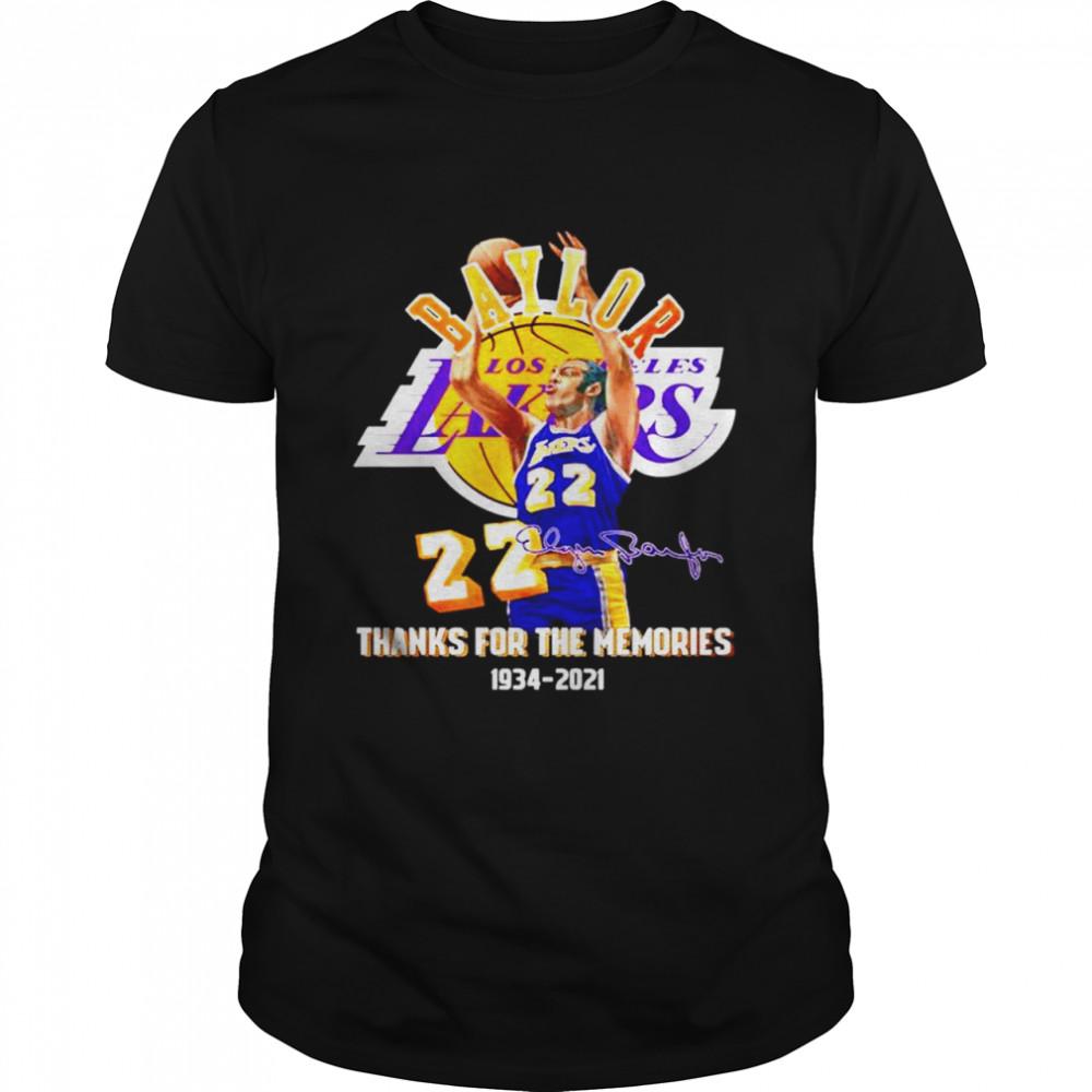 Elgin Baylor Los Angeles Lakers thanks for the memories 1934-2021 signature shirt Classic Men's T-shirt