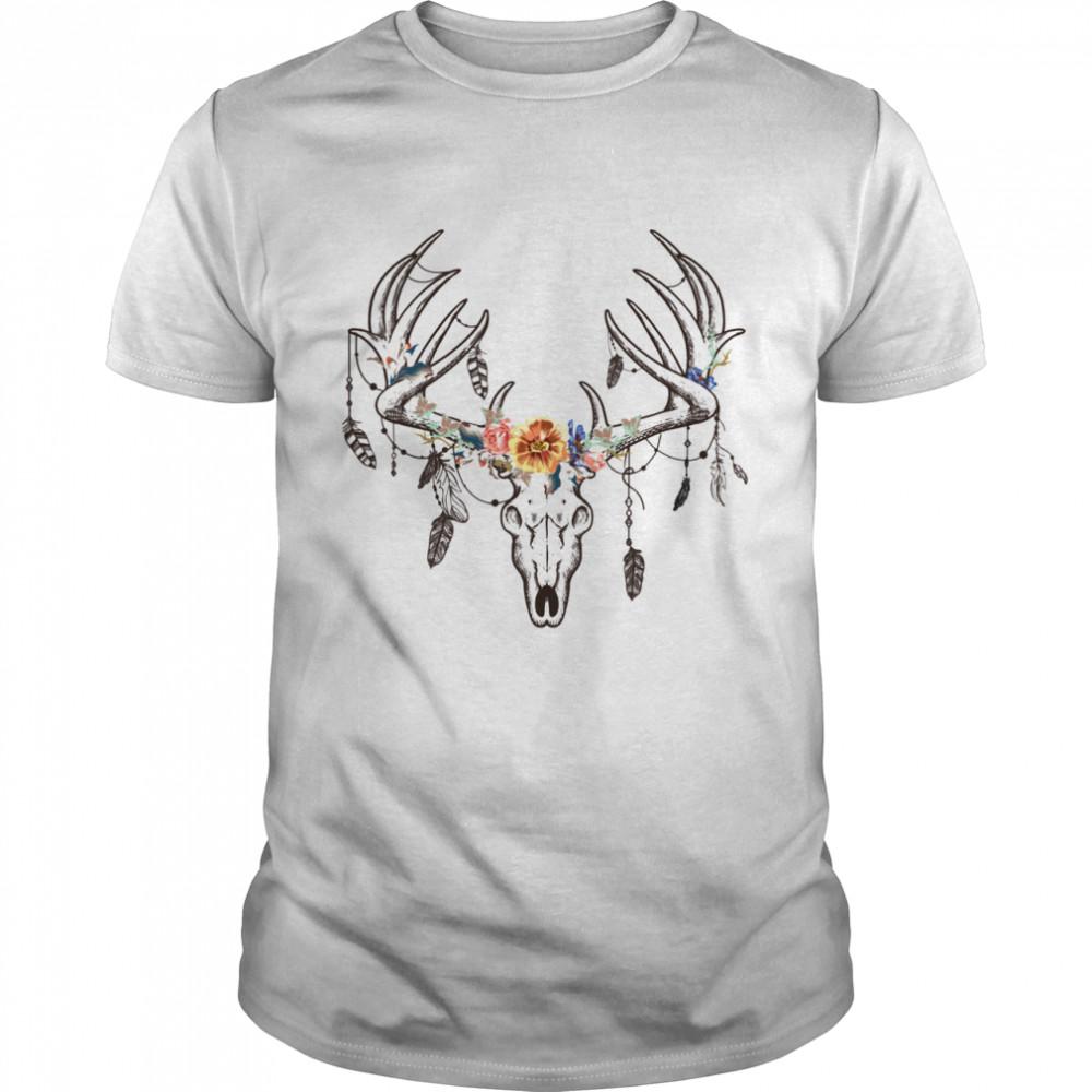 Ethnic Tribal Deer Head Boho Feather Native American Hippie  Classic Men's T-shirt