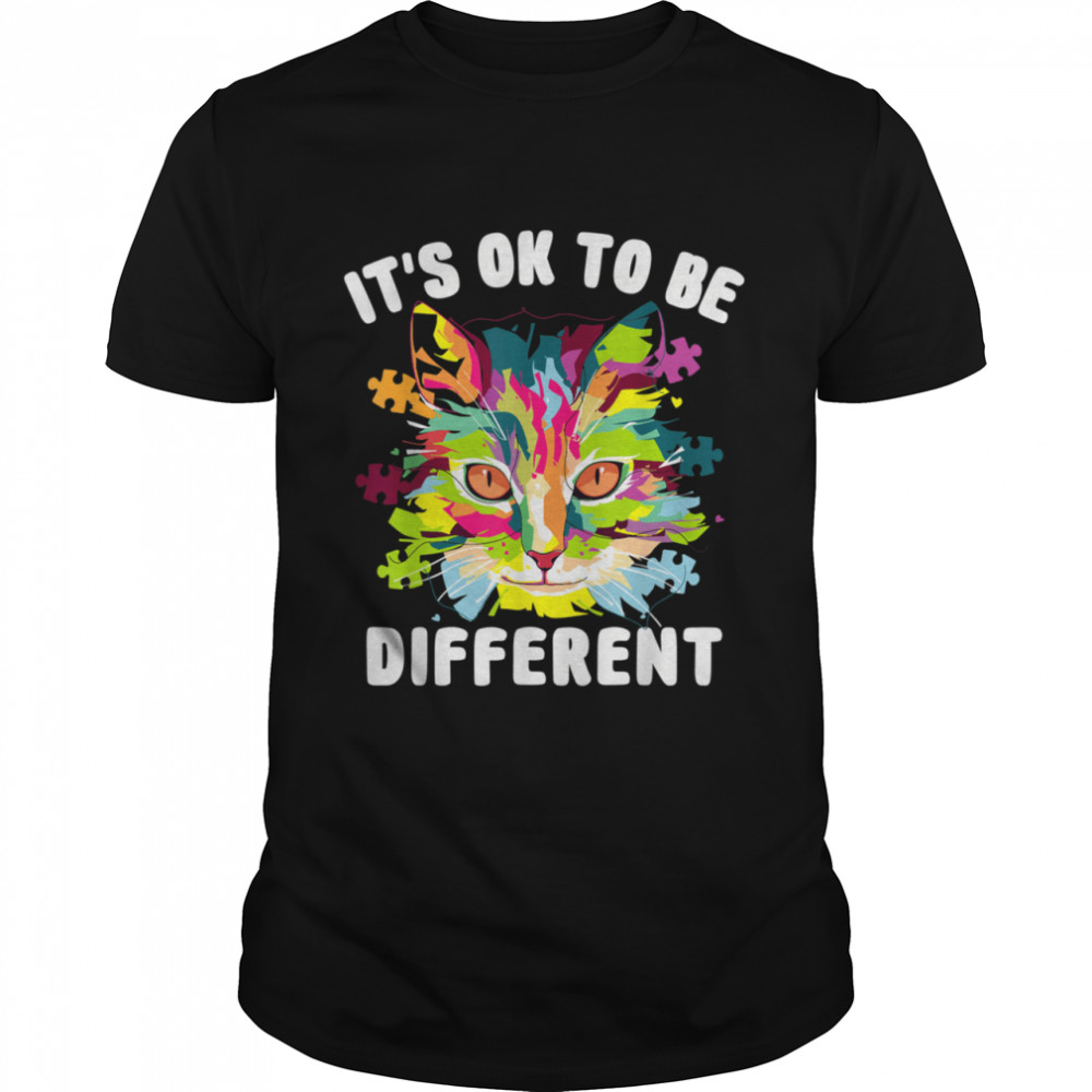 It's Ok To Be Different Autism Awareness Day Cat  Classic Men's T-shirt