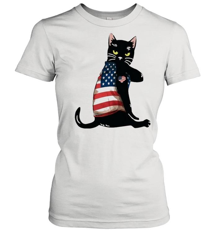 strong cat patriotic shirt classic womens t shirt
