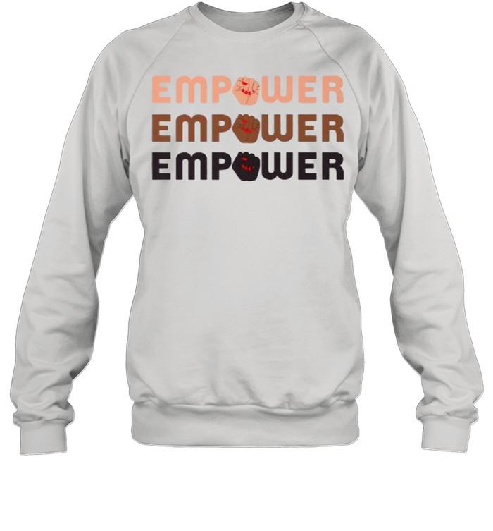 empower raised fist word stack t unisex sweatshirt