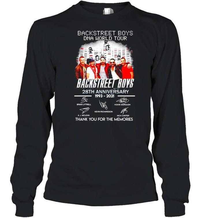 Backstreet Boys DNA world tour 28th Anniversary 1993 2021 thank you for the memories shirt Long Sleeved T-shirt