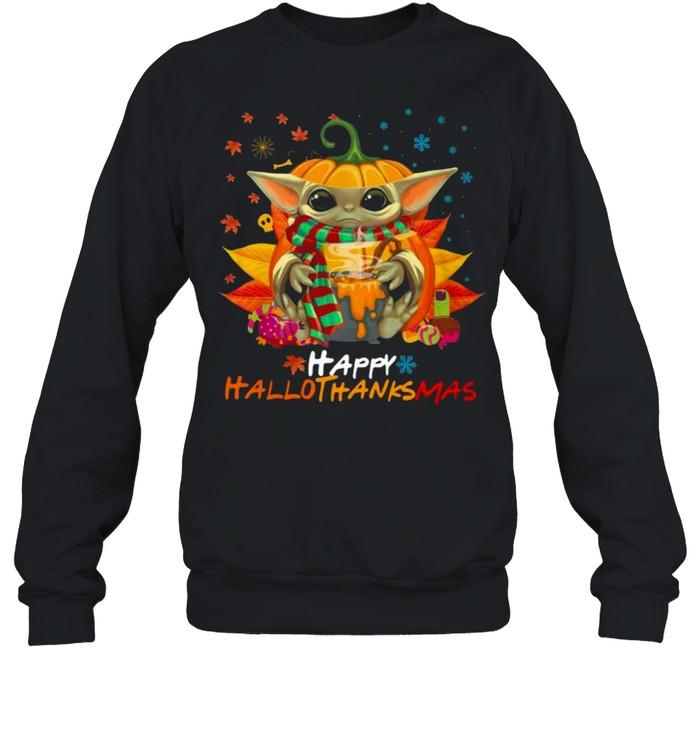 Baby Yoda Hug Pumpkin Happy Hallothanksmas  Unisex Sweatshirt