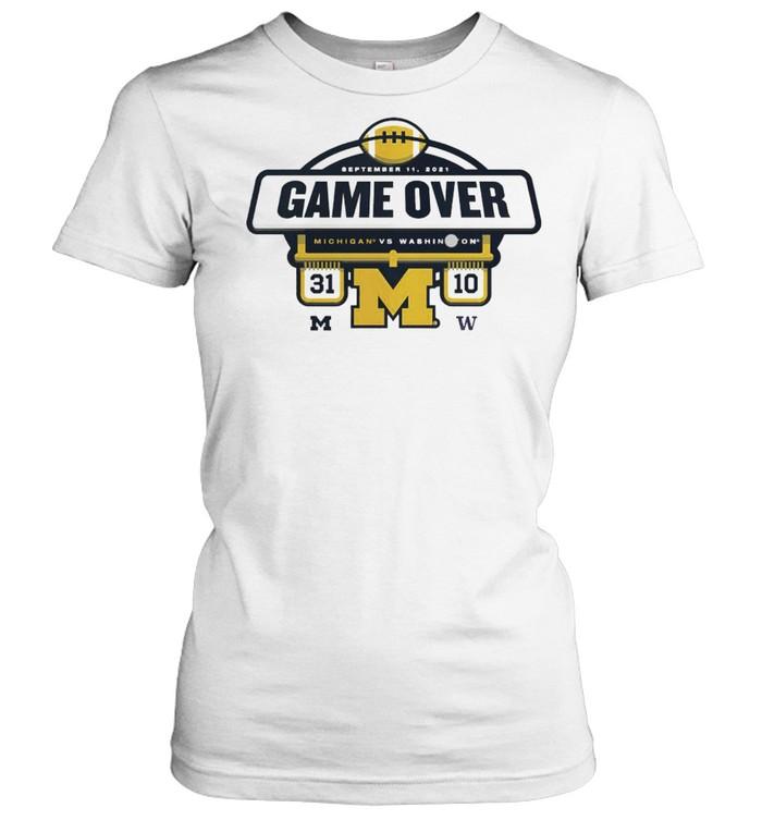 The Michigan Wolverines vs Washington Huskies Game Over 2021 Football Score T- Classic Women's T-shirt