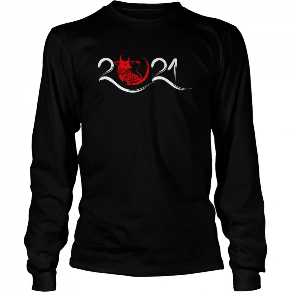 Chinesisches Sternzeichen Jahr des Ochses 2021 Neujahr  Long Sleeved T-shirt