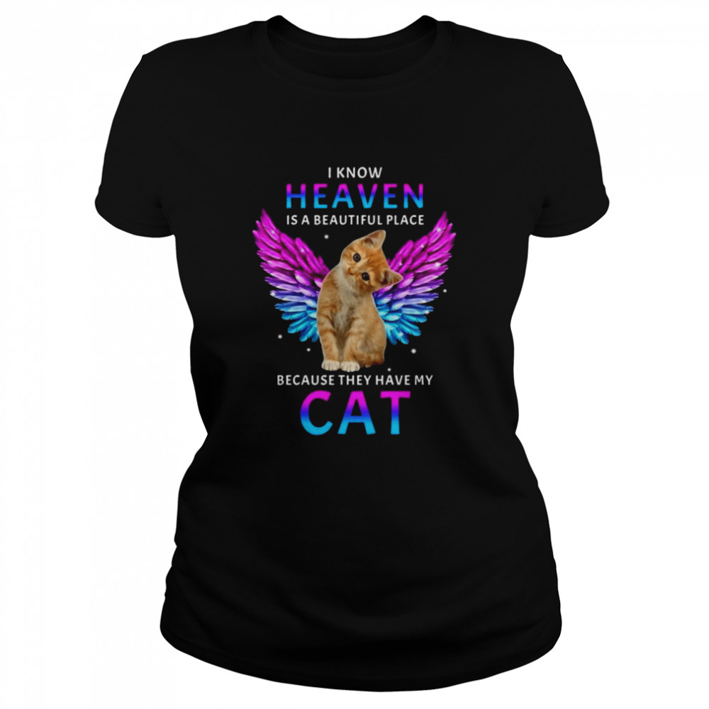 Cat Angel I Know Heaven Is A Beautiful Place Because They Have My Cat T-shirt Classic Women's T-shirt