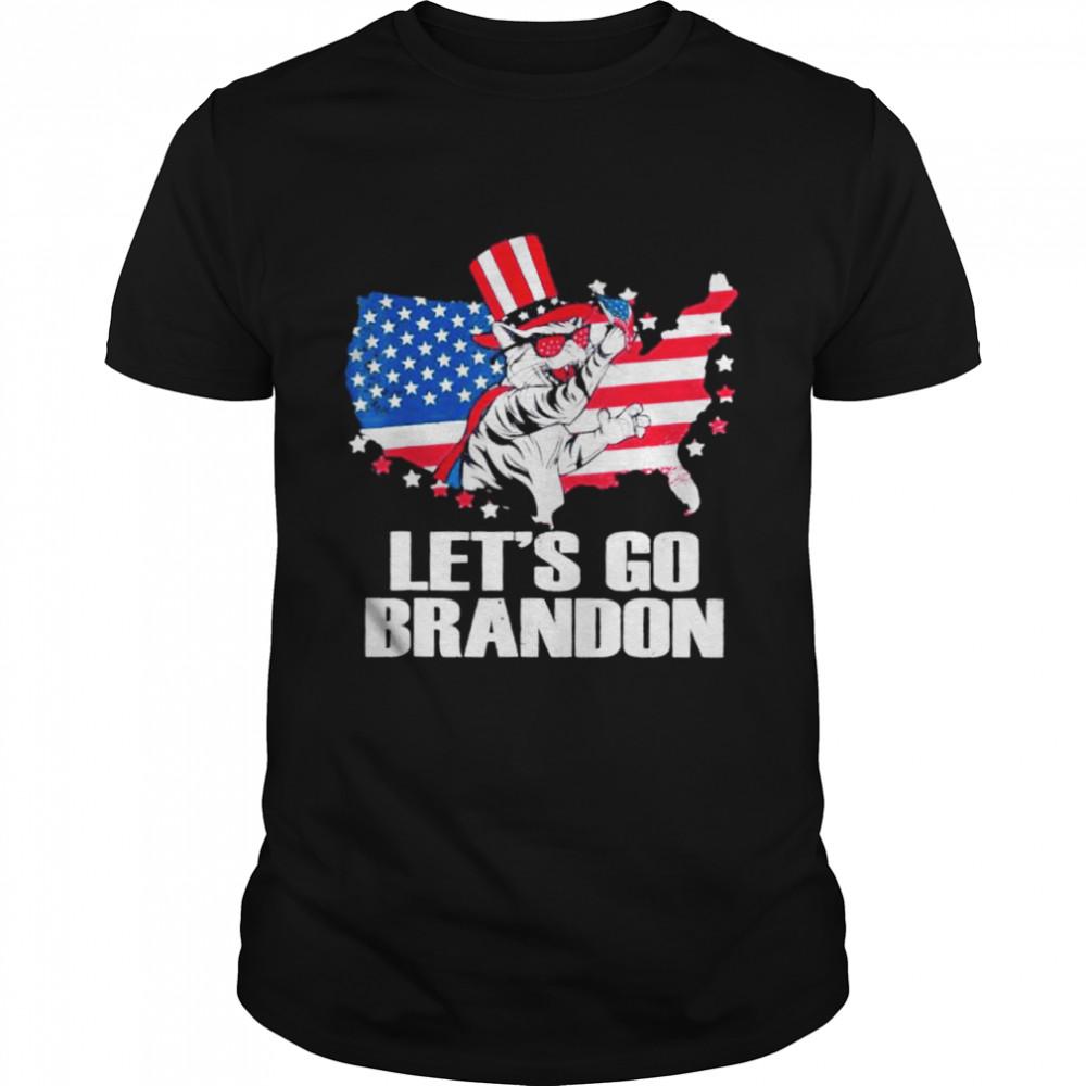 Lets Go Brandon Cat Conservative US Flag shirt Classic Men's T-shirt